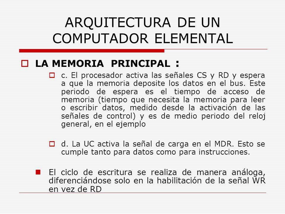 ARQUITECTURA DE UN COMPUTADOR ELEMENTAL LA MEMORIA PRINCIPAL : c. El procesador activa las señales CS y RD y espera a que la memoria deposite los dato