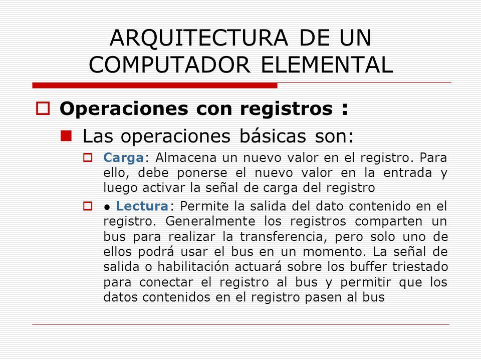ARQUITECTURA DE UN COMPUTADOR ELEMENTAL Operaciones con registros : Las operaciones básicas son: Carga: Almacena un nuevo valor en el registro. Para e