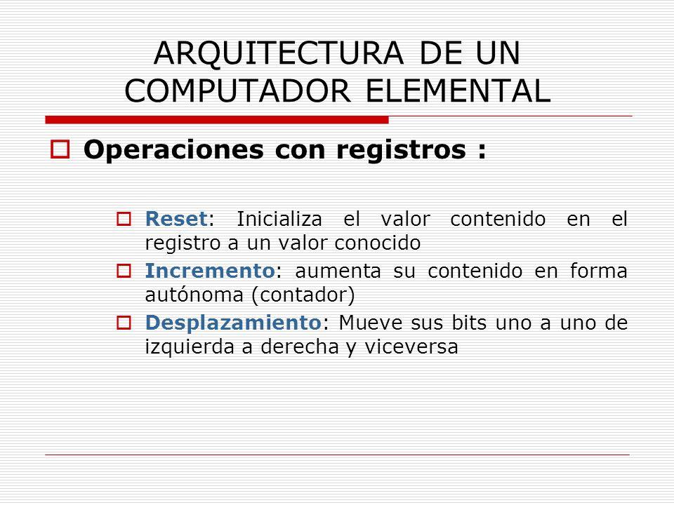 ARQUITECTURA DE UN COMPUTADOR ELEMENTAL Operaciones con registros : Reset: Inicializa el valor contenido en el registro a un valor conocido Incremento