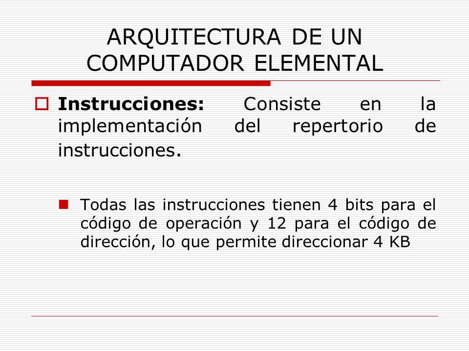 ARQUITECTURA DE UN COMPUTADOR ELEMENTAL Instrucciones: Consiste en la implementación del repertorio de instrucciones. Todas las instrucciones tienen 4