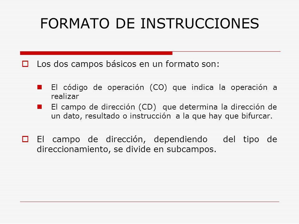 FORMATO DE INSTRUCCIONES Los dos campos básicos en un formato son: El código de operación (CO) que indica la operación a realizar El campo de direcció