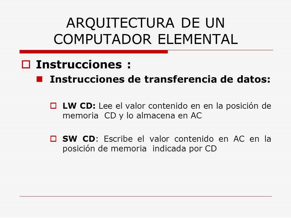 ARQUITECTURA DE UN COMPUTADOR ELEMENTAL Instrucciones : Instrucciones de transferencia de datos: LW CD: Lee el valor contenido en en la posición de me