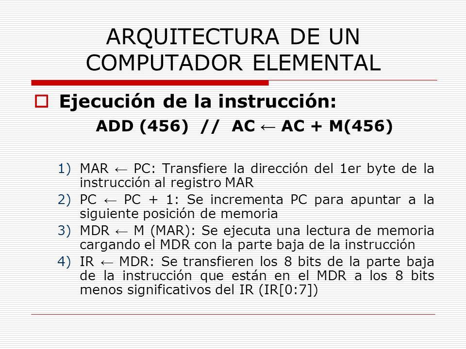 ARQUITECTURA DE UN COMPUTADOR ELEMENTAL Ejecución de la instrucción: ADD (456) // AC AC + M(456) 1)MAR PC: Transfiere la dirección del 1er byte de la
