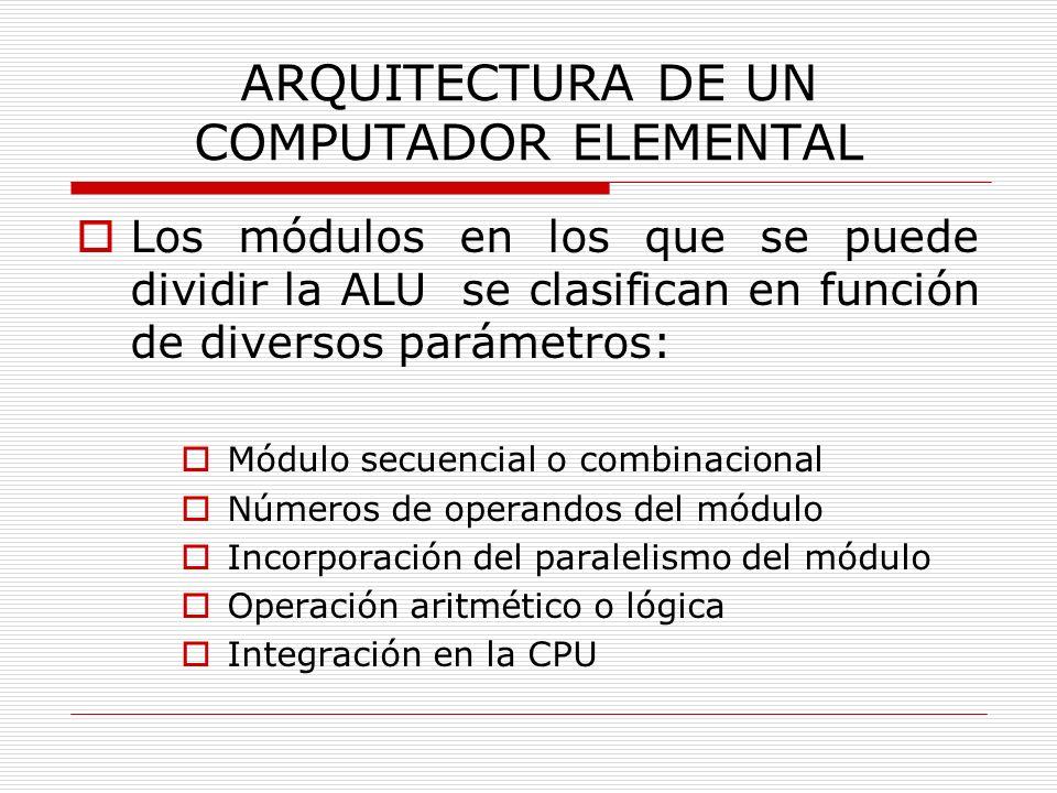 ARQUITECTURA DE UN COMPUTADOR ELEMENTAL Los módulos en los que se puede dividir la ALU se clasifican en función de diversos parámetros: Módulo secuenc