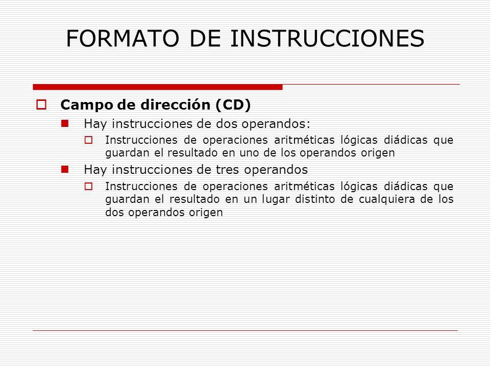 FORMATO DE INSTRUCCIONES Campo de dirección (CD) Hay instrucciones de dos operandos: Instrucciones de operaciones aritméticas lógicas diádicas que gua