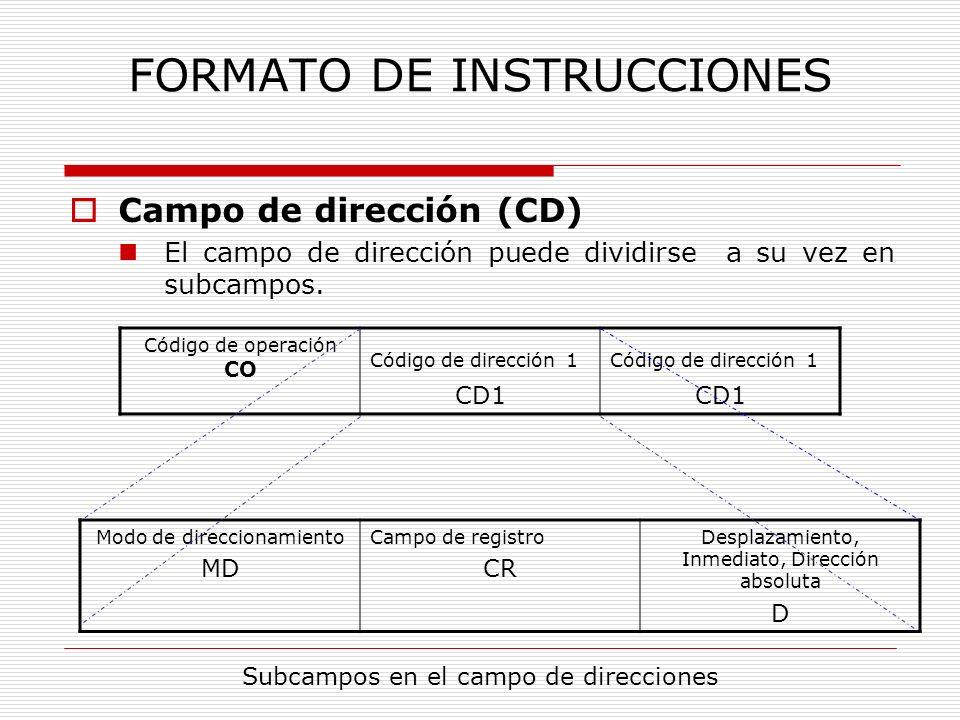 FORMATO DE INSTRUCCIONES Campo de dirección (CD) Los subcampos más significativos contenidos en el campo de direcciones son: Modo de direccionamiento (MD): Se codifica el modo de direccionamiento a emplar para localizar el dato.