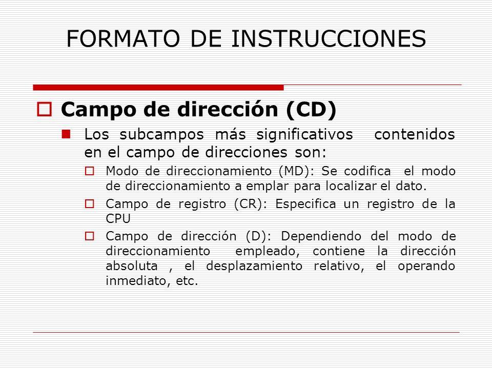 FORMATO DE INSTRUCCIONES Campo de dirección (CD) Los subcampos más significativos contenidos en el campo de direcciones son: Modo de direccionamiento