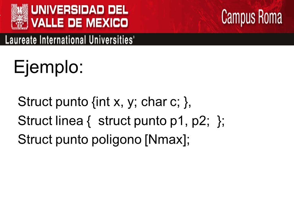 Ejemplo: Struct punto {int x, y; char c; }, Struct linea { struct punto p1, p2; }; Struct punto poligono [Nmax];
