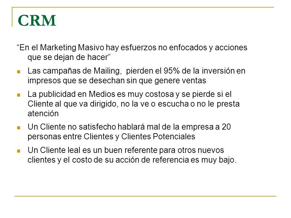 CRM En el Marketing Masivo hay esfuerzos no enfocados y acciones que se dejan de hacer Las campañas de Mailing, pierden el 95% de la inversión en impr