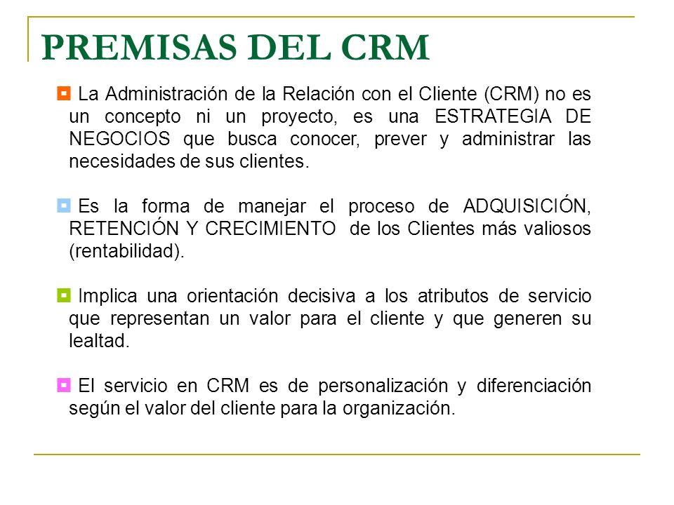 PREMISAS DEL CRM La Administración de la Relación con el Cliente (CRM) no es un concepto ni un proyecto, es una ESTRATEGIA DE NEGOCIOS que busca conoc