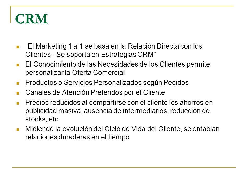 CRM El Marketing 1 a 1 se basa en la Relación Directa con los Clientes - Se soporta en Estrategias CRM El Conocimiento de las Necesidades de los Clien