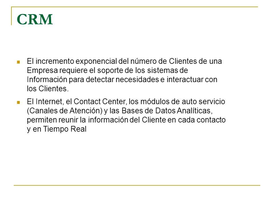 CRM El incremento exponencial del número de Clientes de una Empresa requiere el soporte de los sistemas de Información para detectar necesidades e int