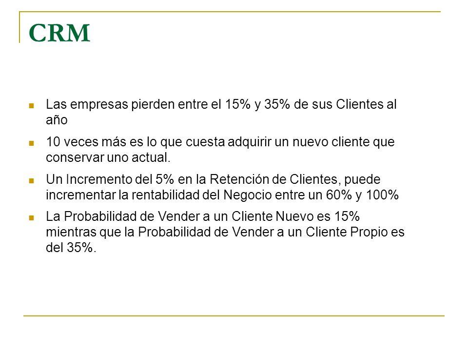 CRM Las empresas pierden entre el 15% y 35% de sus Clientes al año 10 veces más es lo que cuesta adquirir un nuevo cliente que conservar uno actual. U