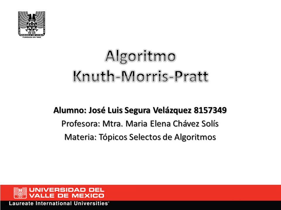 Alumno: José Luis Segura Velázquez 8157349 Profesora: Mtra. Maria Elena Chávez Solís Materia: Tópicos Selectos de Algoritmos