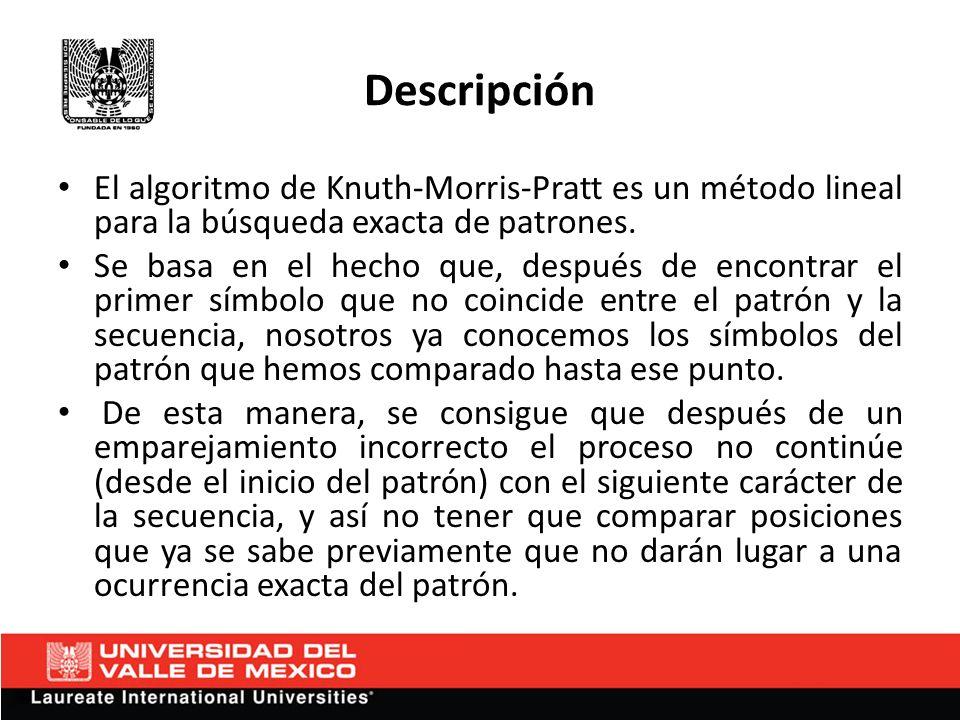 Descripción El algoritmo de Knuth-Morris-Pratt es un método lineal para la búsqueda exacta de patrones. Se basa en el hecho que, después de encontrar