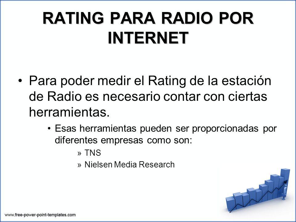 Para poder medir el Rating de la estación de Radio es necesario contar con ciertas herramientas. Esas herramientas pueden ser proporcionadas por difer