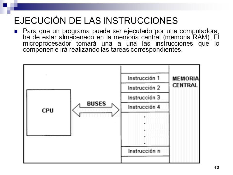 12 EJECUCIÓN DE LAS INSTRUCCIONES Para que un programa pueda ser ejecutado por una computadora, ha de estar almacenado en la memoria central (memoria