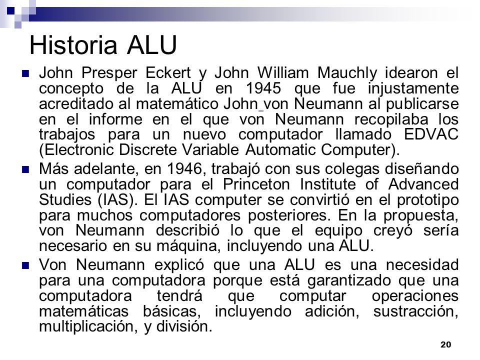 20 Historia ALU John Presper Eckert y John William Mauchly idearon el concepto de la ALU en 1945 que fue injustamente acreditado al matemático John vo