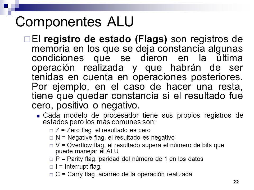 22 Componentes ALU El registro de estado (Flags) son registros de memoria en los que se deja constancia algunas condiciones que se dieron en la última