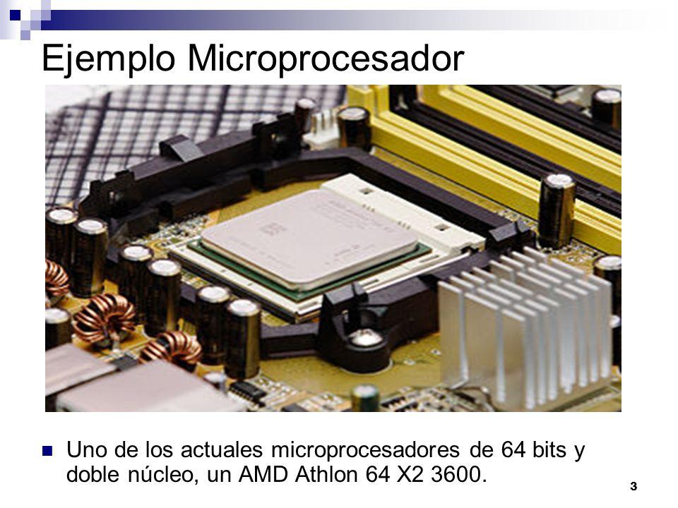 3 Ejemplo Microprocesador Uno de los actuales microprocesadores de 64 bits y doble núcleo, un AMD Athlon 64 X2 3600.