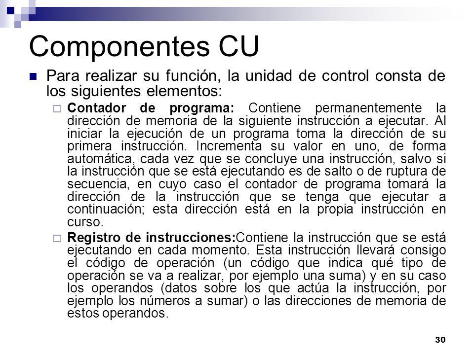 30 Componentes CU Para realizar su función, la unidad de control consta de los siguientes elementos: Contador de programa: Contiene permanentemente la