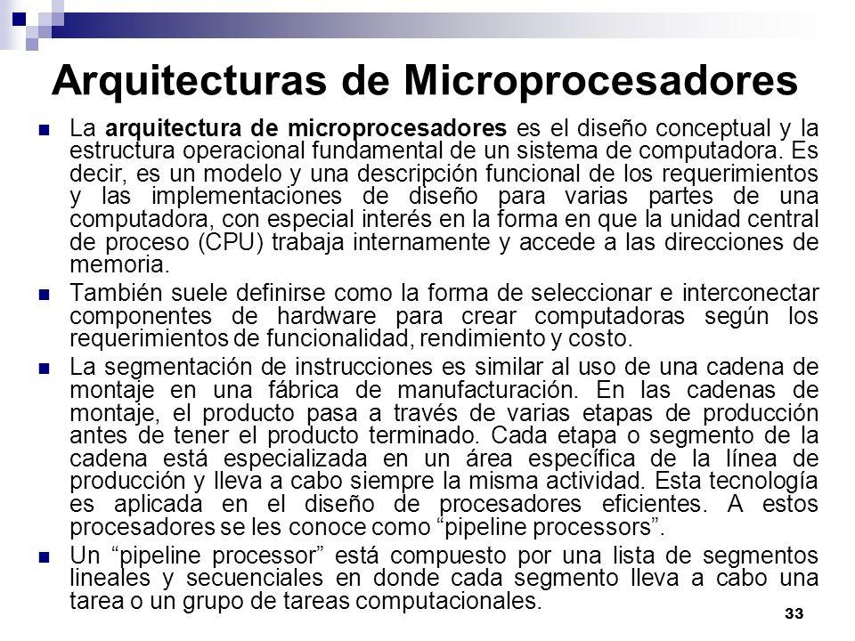 33 Arquitecturas de Microprocesadores La arquitectura de microprocesadores es el diseño conceptual y la estructura operacional fundamental de un siste