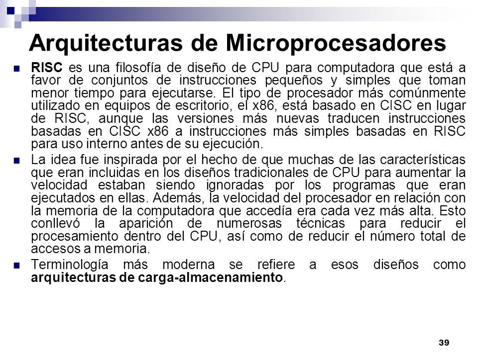 39 Arquitecturas de Microprocesadores RISC es una filosofía de diseño de CPU para computadora que está a favor de conjuntos de instrucciones pequeños