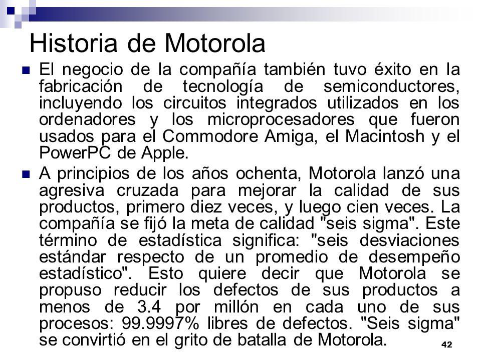 42 Historia de Motorola El negocio de la compañía también tuvo éxito en la fabricación de tecnología de semiconductores, incluyendo los circuitos inte