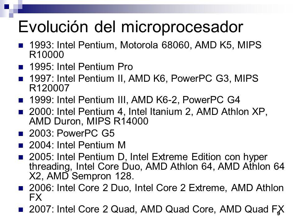 9 Evolución del microprocesador 1993: Intel Pentium, Motorola 68060, AMD K5, MIPS R10000 1995: Intel Pentium Pro 1997: Intel Pentium II, AMD K6, Power