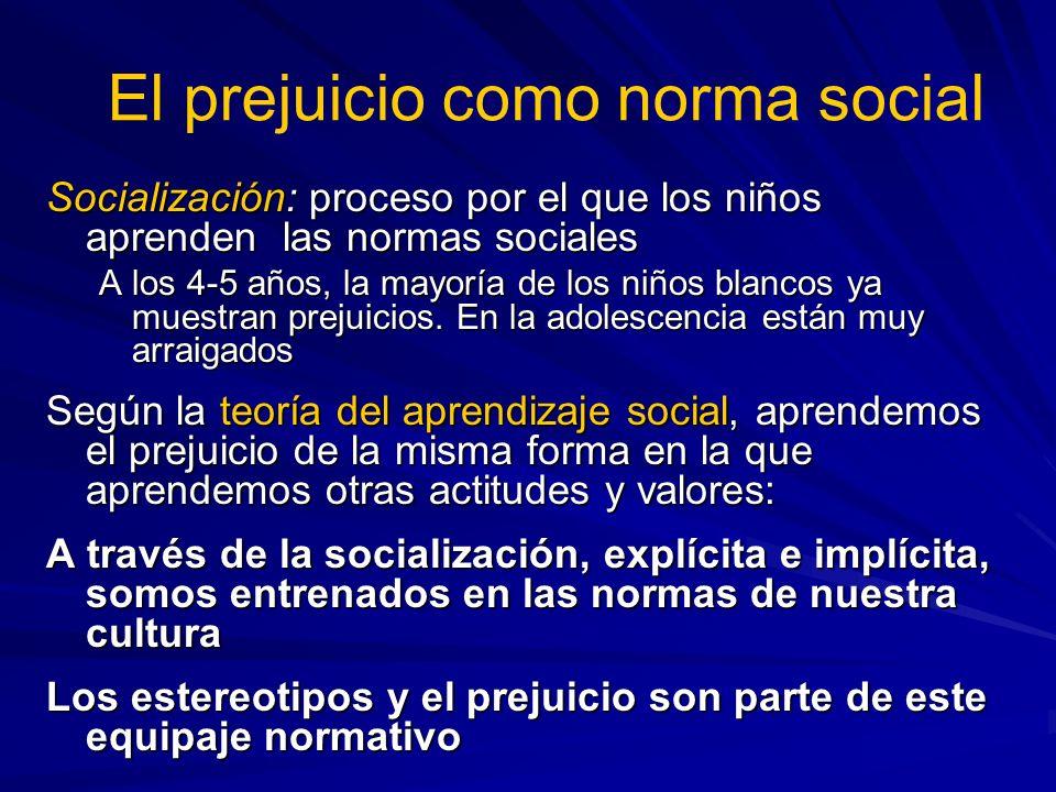 Socialización: proceso por el que los niños aprenden las normas sociales A los 4-5 años, la mayoría de los niños blancos ya muestran prejuicios. En la