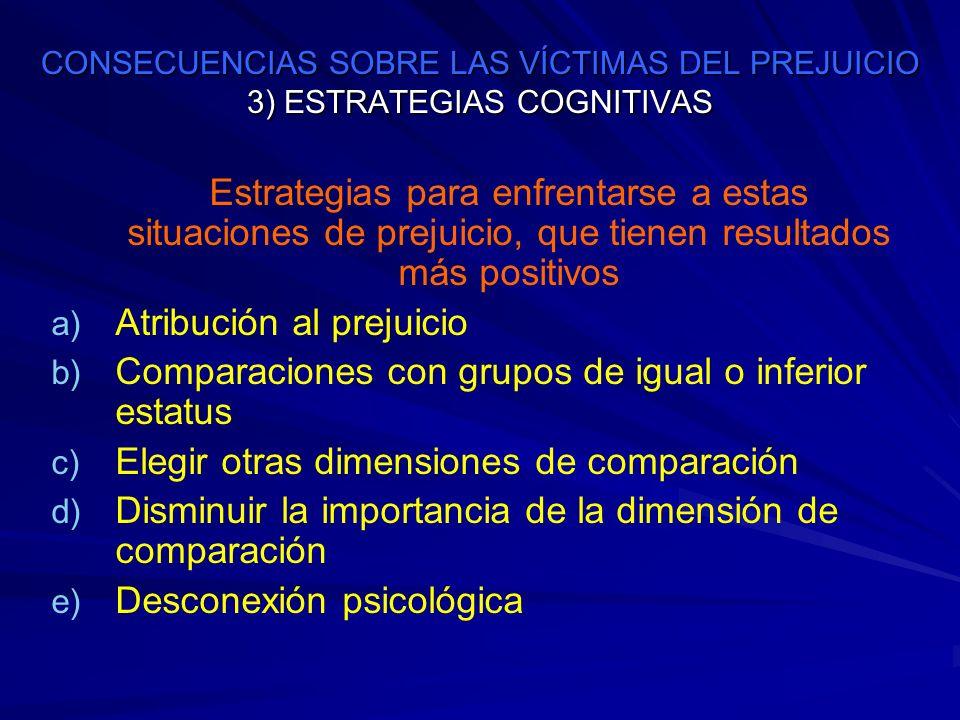 CONSECUENCIAS SOBRE LAS VÍCTIMAS DEL PREJUICIO 3) ESTRATEGIAS COGNITIVAS Estrategias para enfrentarse a estas situaciones de prejuicio, que tienen res