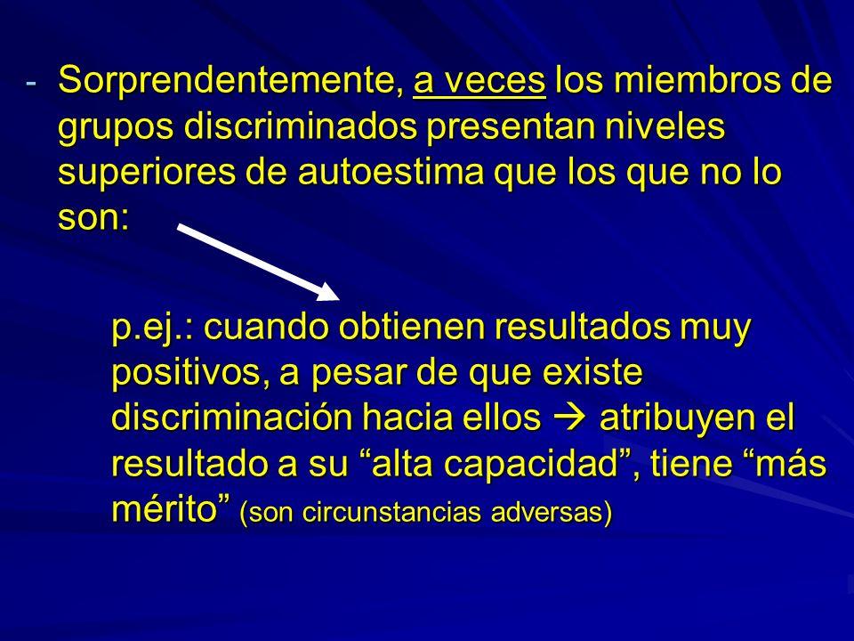 - Sorprendentemente, a veces los miembros de grupos discriminados presentan niveles superiores de autoestima que los que no lo son: p.ej.: cuando obti