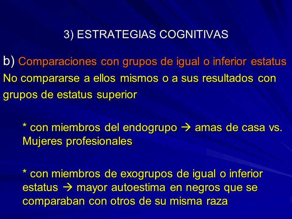 3) ESTRATEGIAS COGNITIVAS b) Comparaciones con grupos de igual o inferior estatus No compararse a ellos mismos o a sus resultados con grupos de estatu