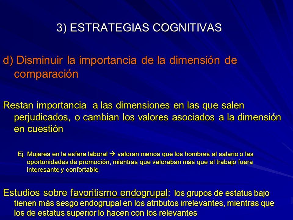 3) ESTRATEGIAS COGNITIVAS d) Disminuir la importancia de la dimensión de comparación Restan importancia a las dimensiones en las que salen perjudicado