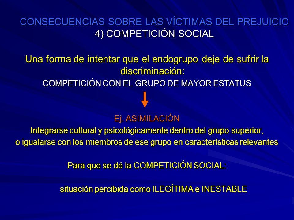 CONSECUENCIAS SOBRE LAS VÍCTIMAS DEL PREJUICIO 4) COMPETICIÓN SOCIAL Una forma de intentar que el endogrupo deje de sufrir la discriminación: COMPETIC