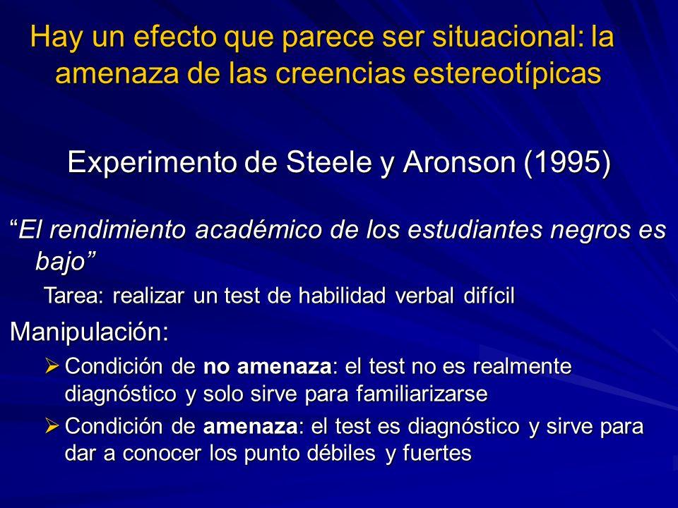 Experimento de Steele y Aronson (1995) El rendimiento académico de los estudiantes negros es bajoEl rendimiento académico de los estudiantes negros es