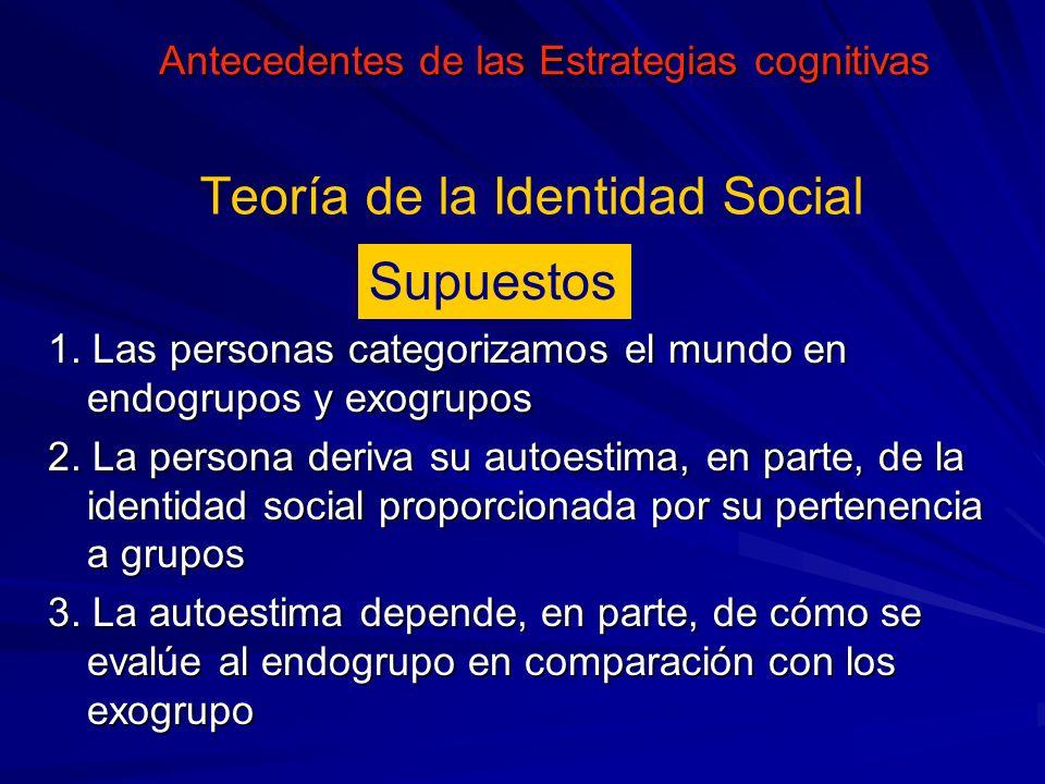 Supuestos 1. Las personas categorizamos el mundo en endogrupos y exogrupos 2. La persona deriva su autoestima, en parte, de la identidad social propor
