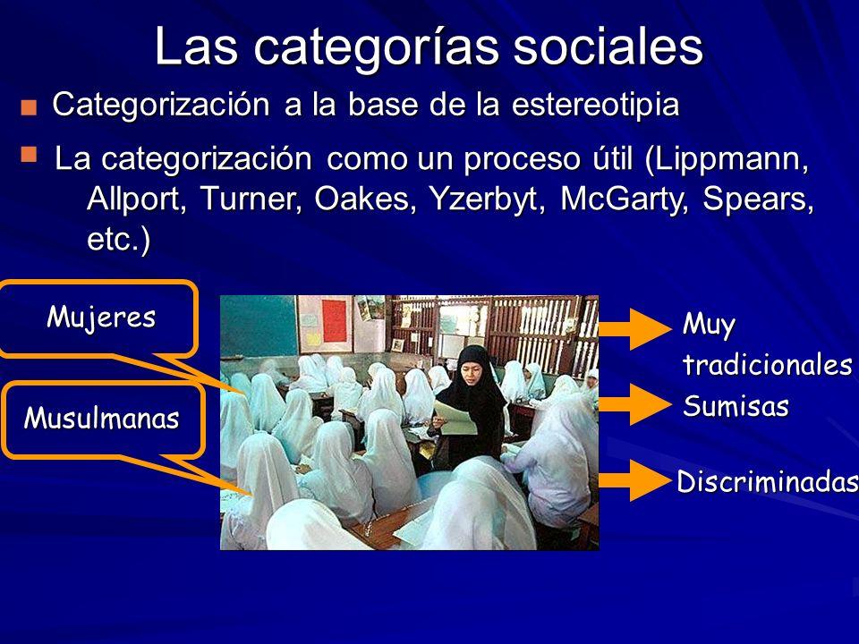Las categorías sociales Categorización a la base de la estereotipia La categorización como un proceso útil (Lippmann, Allport, Turner, Oakes, Yzerbyt,