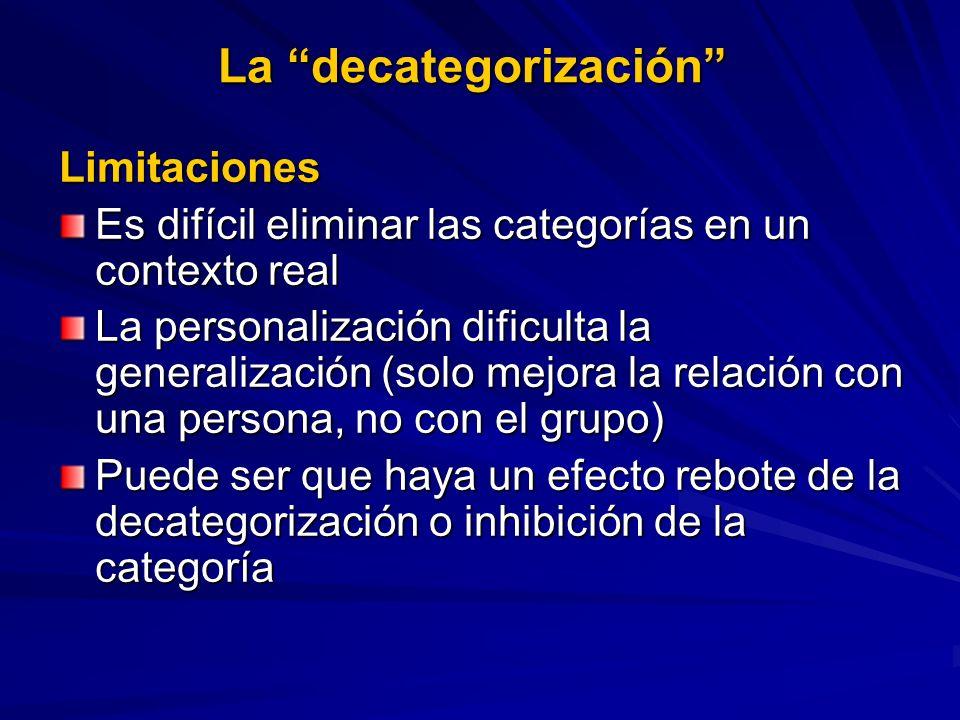 La decategorización Limitaciones Es difícil eliminar las categorías en un contexto real La personalización dificulta la generalización (solo mejora la