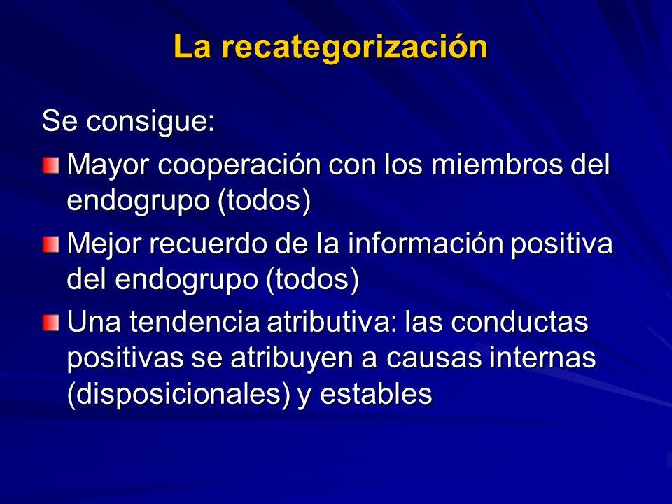 La recategorización Se consigue: Mayor cooperación con los miembros del endogrupo (todos) Mejor recuerdo de la información positiva del endogrupo (tod