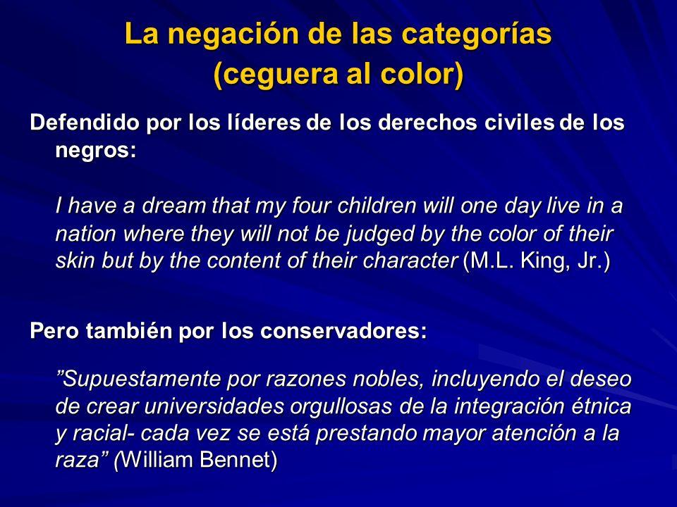 Defendido por los líderes de los derechos civiles de los negros: I have a dream that my four children will one day live in a nation where they will no