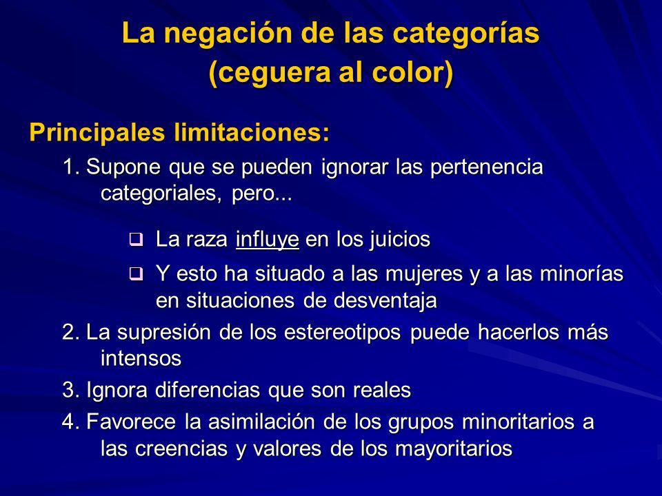 Principales limitaciones: 1. Supone que se pueden ignorar las pertenencia categoriales, pero... La raza influye en los juicios La raza influye en los