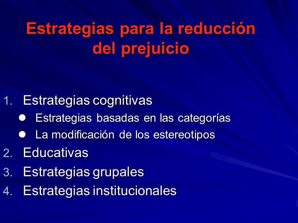 Estrategias para la reducción del prejuicio 1. Estrategias cognitivas Estrategias basadas en las categorías Estrategias basadas en las categorías La m