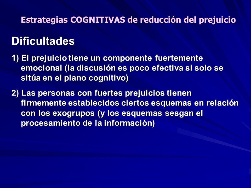 Dificultades 1) El prejuicio tiene un componente fuertemente emocional (la discusión es poco efectiva si solo se sitúa en el plano cognitivo) 2) Las p