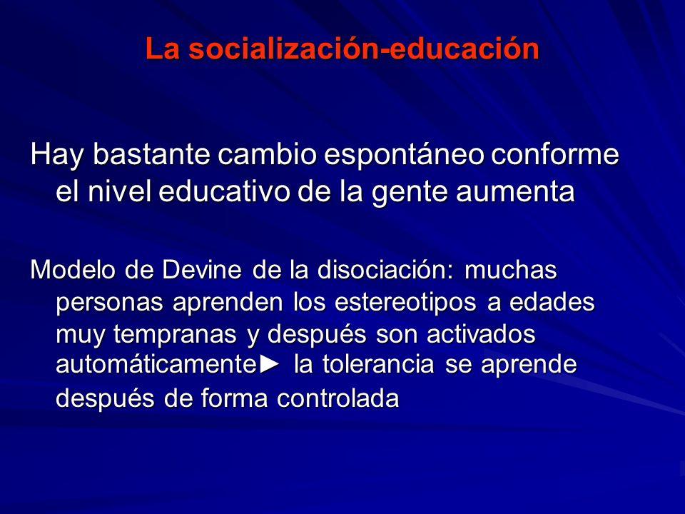 La socialización-educación Hay bastante cambio espontáneo conforme el nivel educativo de la gente aumenta Modelo de Devine de la disociación: muchas p