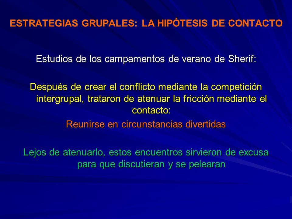 ESTRATEGIAS GRUPALES: LA HIPÓTESIS DE CONTACTO Estudios de los campamentos de verano de Sherif: Después de crear el conflicto mediante la competición