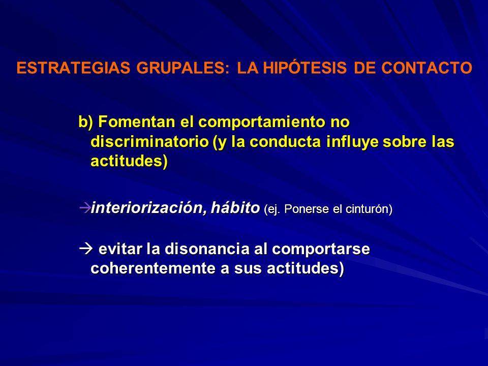 ESTRATEGIAS GRUPALES: LA HIPÓTESIS DE CONTACTO b) Fomentan el comportamiento no discriminatorio (y la conducta influye sobre las actitudes) interioriz