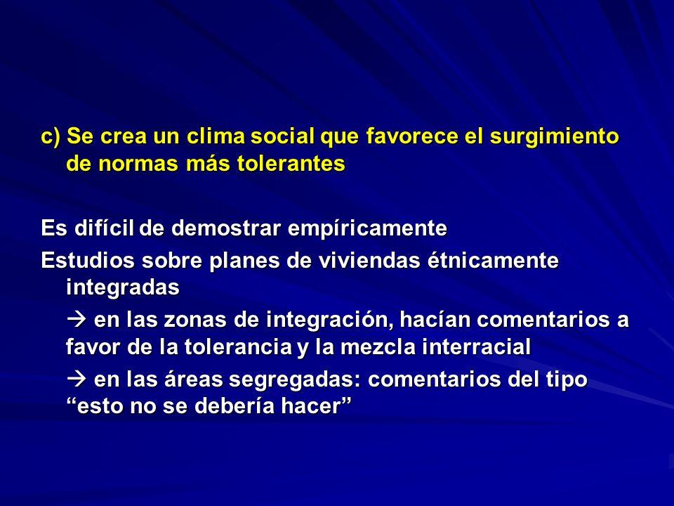c) Se crea un clima social que favorece el surgimiento de normas más tolerantes Es difícil de demostrar empíricamente Estudios sobre planes de viviend