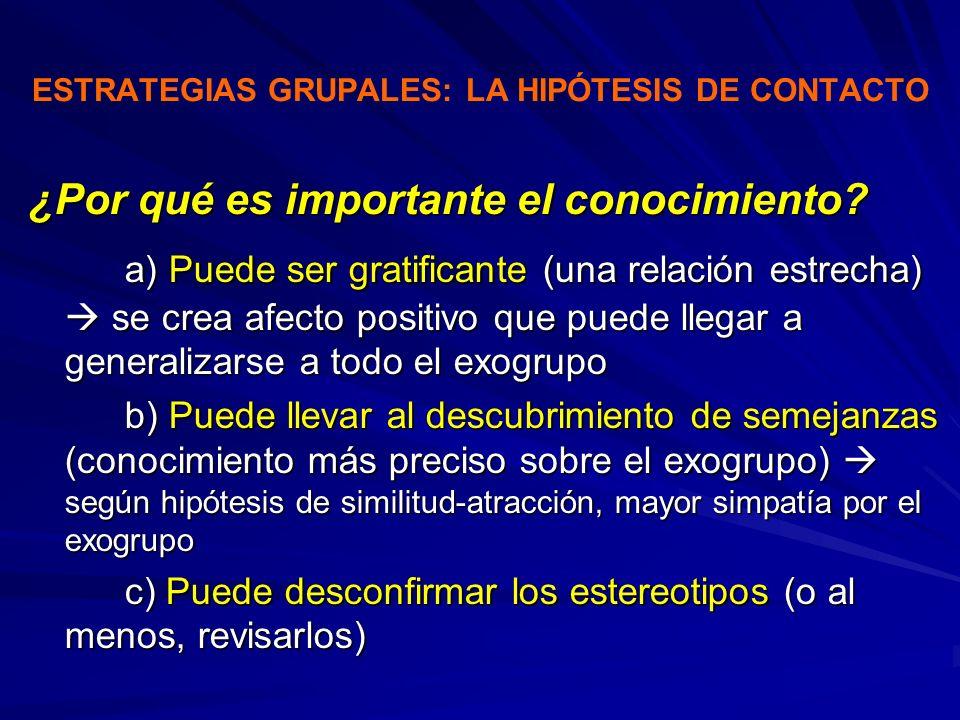ESTRATEGIAS GRUPALES: LA HIPÓTESIS DE CONTACTO ¿Por qué es importante el conocimiento? a) Puede ser gratificante (una relación estrecha) se crea afect