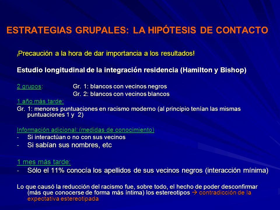 ESTRATEGIAS GRUPALES: LA HIPÓTESIS DE CONTACTO ¡ Precaución a la hora de dar importancia a los resultados! Estudio longitudinal de la integración resi